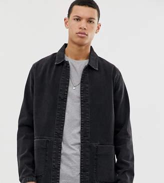 Asos Design DESIGN Tall denim worker jacket in washed black