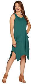 LOGO by Lori Goldstein Cotton Slub HandkerchiefHem Tank Dress
