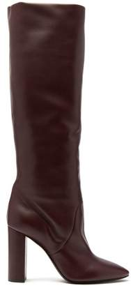 Saint Laurent Lou Leather Knee High Boots - Womens - Burgundy 26afdec982