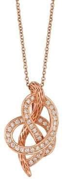 LeVian Le Vian Strawberry N' Vanilla Vanilla Diamonds & 14K Strawberry Gold Knots Pendant Necklace