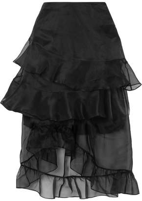 Preen by Thornton Bregazzi Louisa Asymmetric Ruffled Silk-organza Midi Skirt - Black