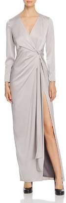 Paule Ka Twist-Detail Satin Gown