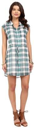 BB Dakota Katrin Pastel Plaid Crinkle Gauze Shirtdress Women's Dress