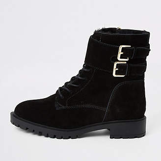 River Island Black suede lace-up ankle cuff chunky boots