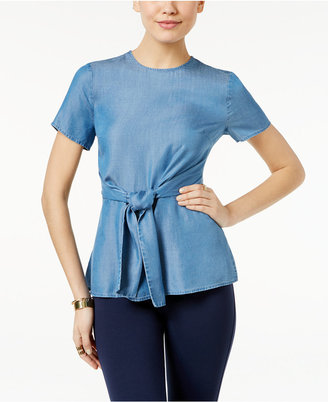 MICHAEL Michael Kors Chambray Tie-Front Top $110 thestylecure.com