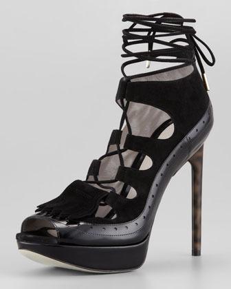 Jason Wu Lace-Up High Heel Platform Sandal, Black