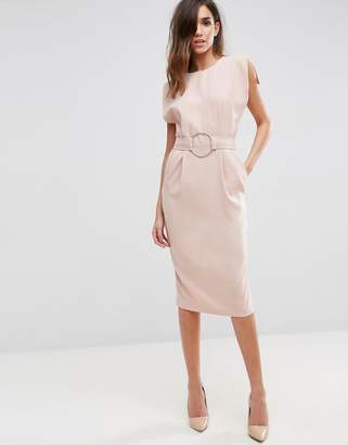 Asos Design Split Cap Sleeve Midi Dress with Modern Ring Belt