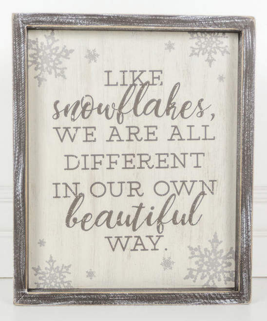 'Like Snowflakes' Framed Wood Wall Sign