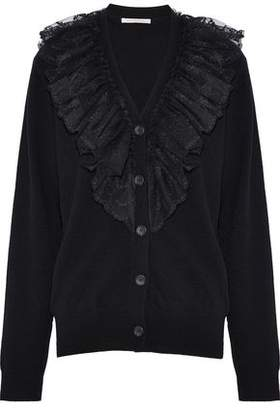 Christopher Kane Ruffled Lace-Trimmed Cashmere Cardigan