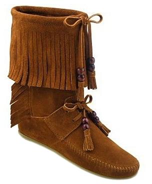 *SALE* Minnetonka Moccasin - 1662 Brown Woodstock Fringe Boot