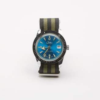 Blade + Blue Vintage Blue Chateau Diver's Watch with Striped Military Band