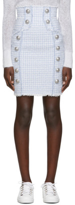 Balmain Blue and White Tweed High-Waisted Buttoned Skirt
