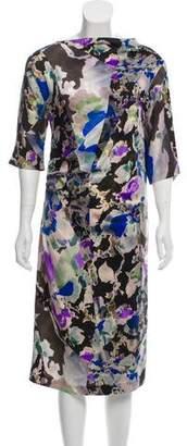 Dries Van Noten Abstract Print Silk Dress
