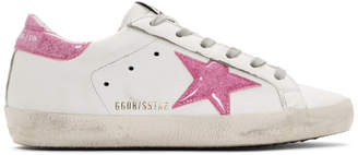 Golden Goose White and Pink Glitter Superstar Sneakers