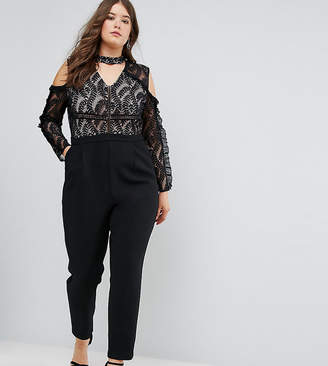Truly You Cold Shoulder Lace Top Jumpsuit With Ruffle Sleeves