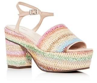 Schutz Women's Ziquiele Raffia Block Heel Platform Sandals