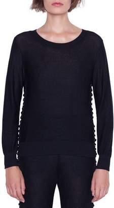 Akris Long-Sleeve Magic Form Stone Pullover
