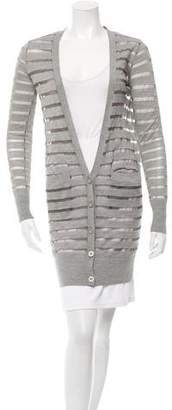 Diane von Furstenberg Striped V-Neck Cardigan