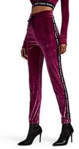 Marcelo Burlon County of Milan Women's Logo-Striped Velour Slim Track Pants - Wine