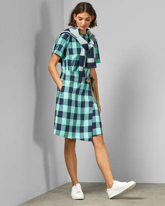 Ted Baker RHIONA Checked wrap front dress