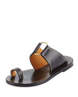 Isabel Marant Jeppy Flat Studded Leather Sandals, Black/Dore