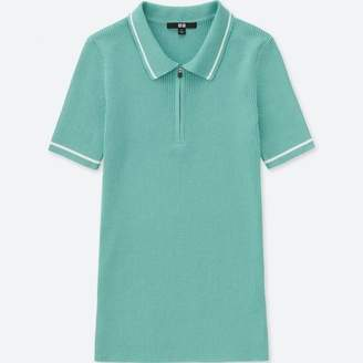 Uniqlo WOMEN Active Short Sleeve Knit Polo Shirt