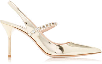 Miu Miu Crystal-Embellished Metallic Leather Slingback Pumps Size: 35