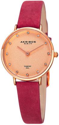 Akribos XXIV Women's Nubuck Leather Diamond Watch
