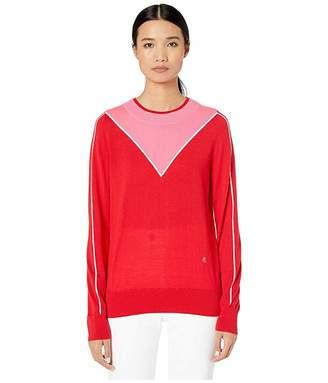 ADAM by Adam Lippes Merino Long Sleeve V-Neck Intarsia Crew Neck Sweater