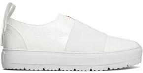 Jil Sander Navy Elastic-paneled Embossed Leather Slip-on Sneakers