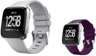 Fitbit Versa Bands Small by Zodaca 2-PACK (Gray + Purple) Replacement Bands SMALL Size Adjustable Wrist Band Soft Rubber Silicone Strap Clasp Buckle For Versa Fitness Smartwatch - Gray + Purple