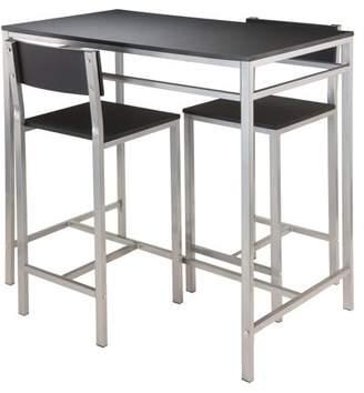 Winsome Hanley 3-Piece Kitchen High Table Set, Black Top/Metal Frame