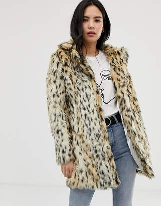 6e3989aed5 Qed London QED London single breasted animal print faux fur coat