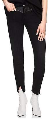 Givenchy Women's Leather-Yoke Skinny Jeans - Black