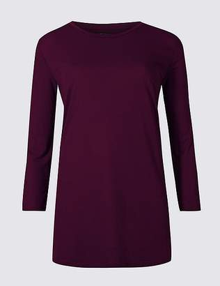 Marks and Spencer Round Neck 3/4 Sleeve Longline T-Shirt