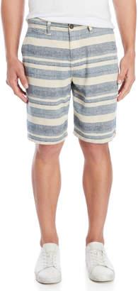 Lucky Brand Blue Linen-Blend Multi Stripe Shorts