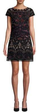 Adrianna Papell Embroidered Mini Dress