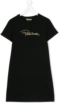 Roberto Cavalli logo stamp dress