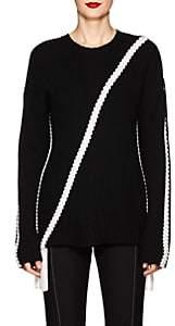 Derek Lam 10 Crosby Women's Braid-Detailed Rib-Knit Cotton Sweater-Wht.&blk.