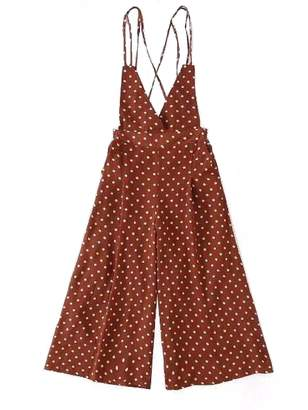 Goodnight Macaroon 'Martha' Cross Back Dotted Jumpsuit