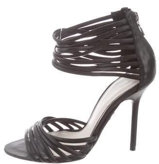 Herve Leger Leather Zip-Up Sandals