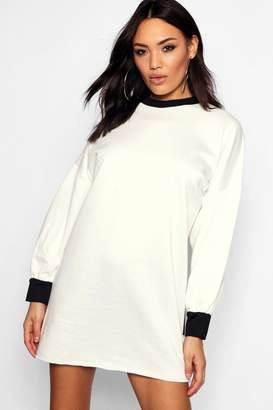boohoo Sold Out Graphic Balloon Sleeve Sweat Shirt Dress