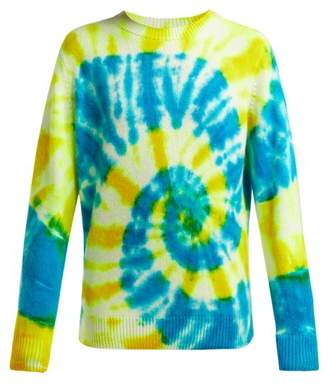 The Elder Statesman Tie Dye Crew Neck Cashmere Sweater - Womens - Blue Multi