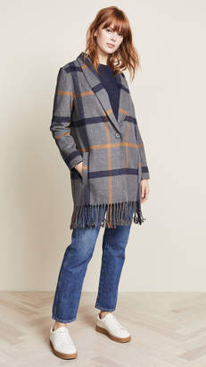 BB Dakota Elementary Plaid Fringed Coat