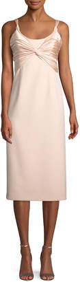 Cinq à Sept Amina Scoop-Neck Sleeveless A-Line Dress w/ Ruched Bodice