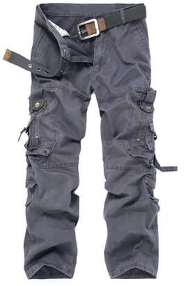 OCHENTA Men's Outdoor Water Washed Cotton Multi Pocket Cargo Pants