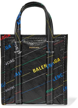 Balenciaga Bazar Xxs Printed Textured-leather Tote - Black