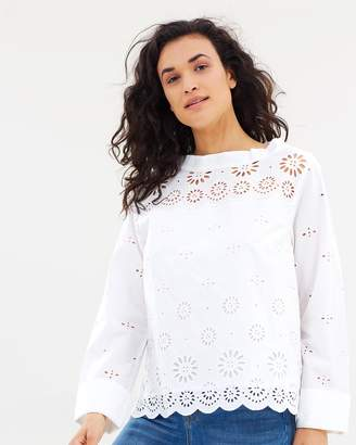J.Crew Rooster Eyelet Cotton Top