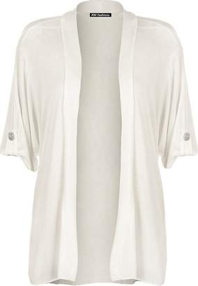RM Fashions Womens Plus Size Short Sleeve Button Open Boyfriend Cardigan Stretch Top