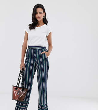 Esprit stripe wide leg pant in navy and green stripes